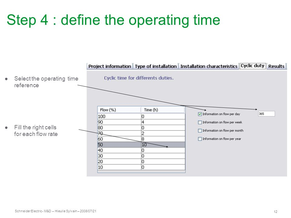 Step 4 : define the operating time