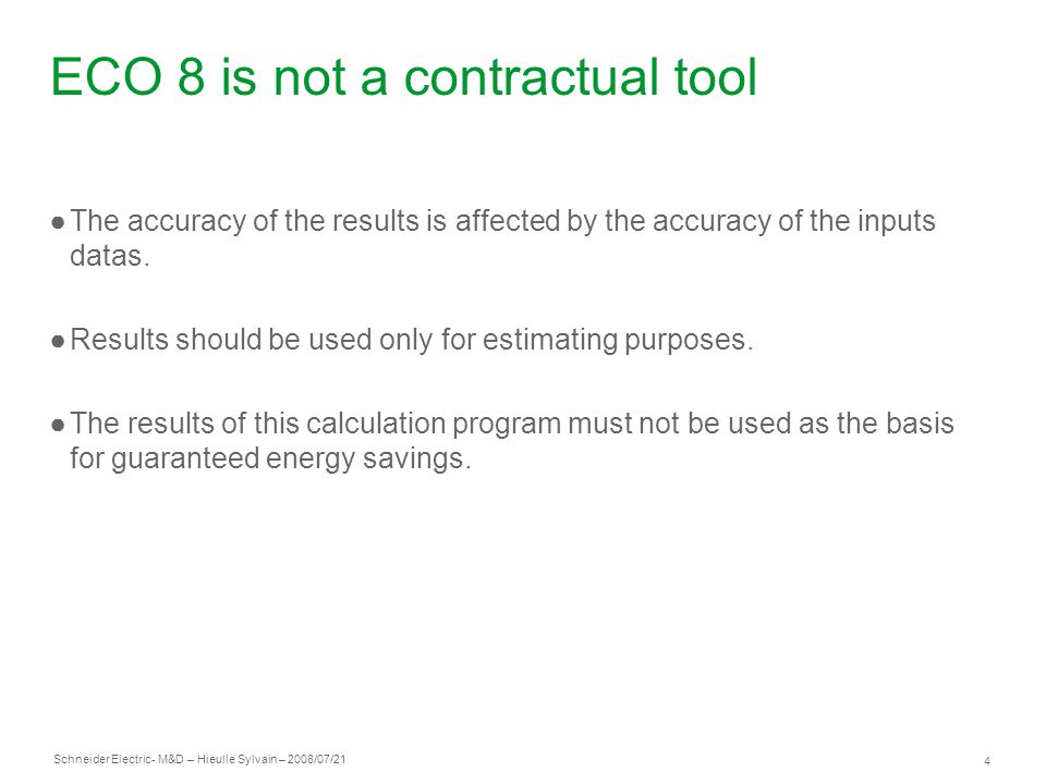 ECO 8 is not a contractual tool