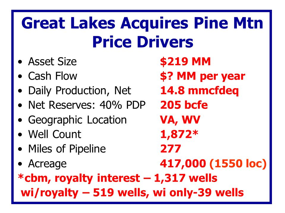 Great Lakes Acquires Pine Mtn Price Drivers