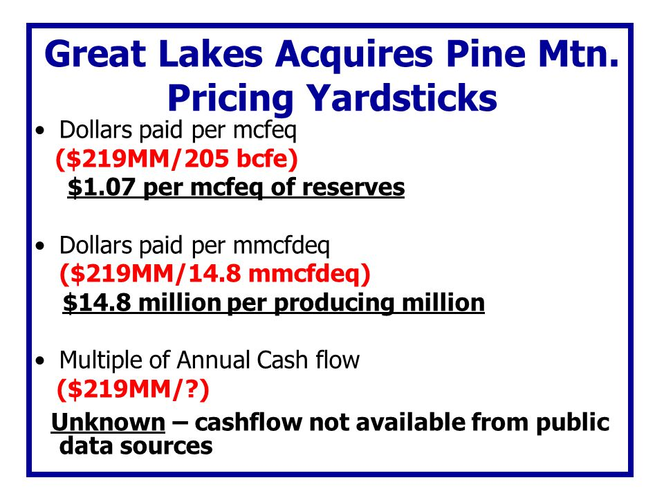 Great Lakes Acquires Pine Mtn. Pricing Yardsticks