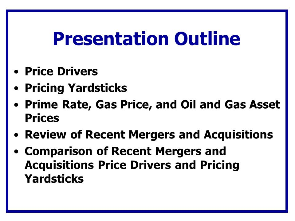 Presentation Outline Price Drivers Pricing Yardsticks