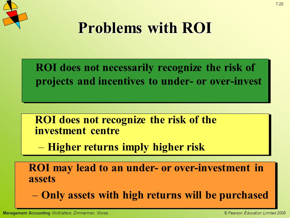 Problems with ROI ROI does not necessarily recognize the risk of projects and incentives to under- or over-invest.
