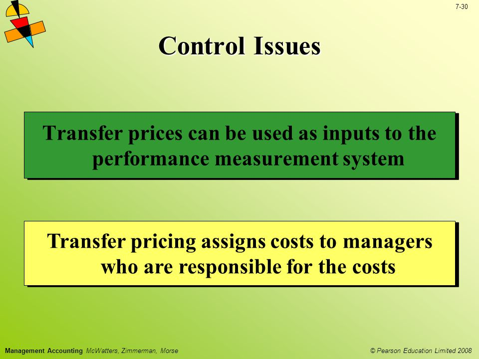 Control Issues Transfer prices can be used as inputs to the performance measurement system.