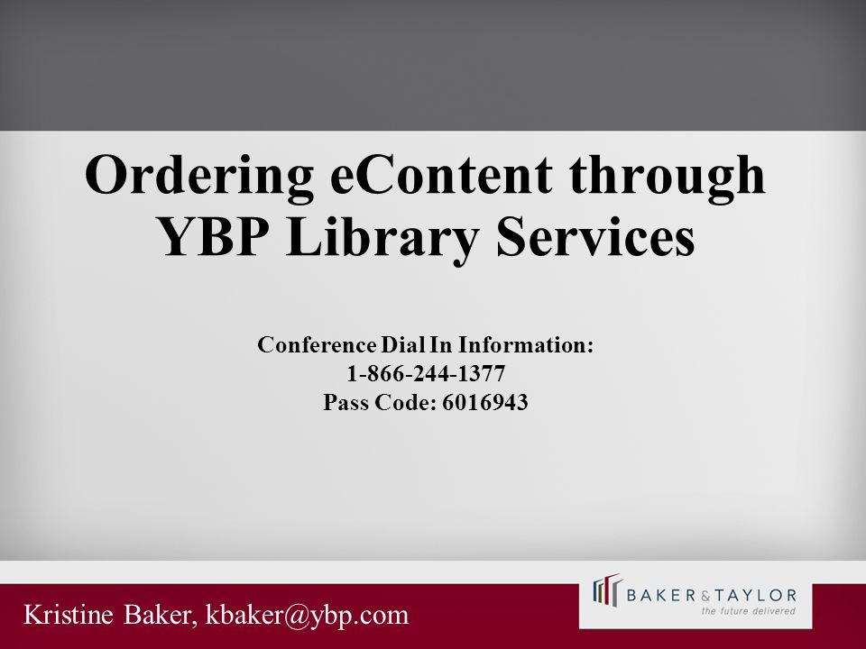 Ordering eContent through YBP Library Services