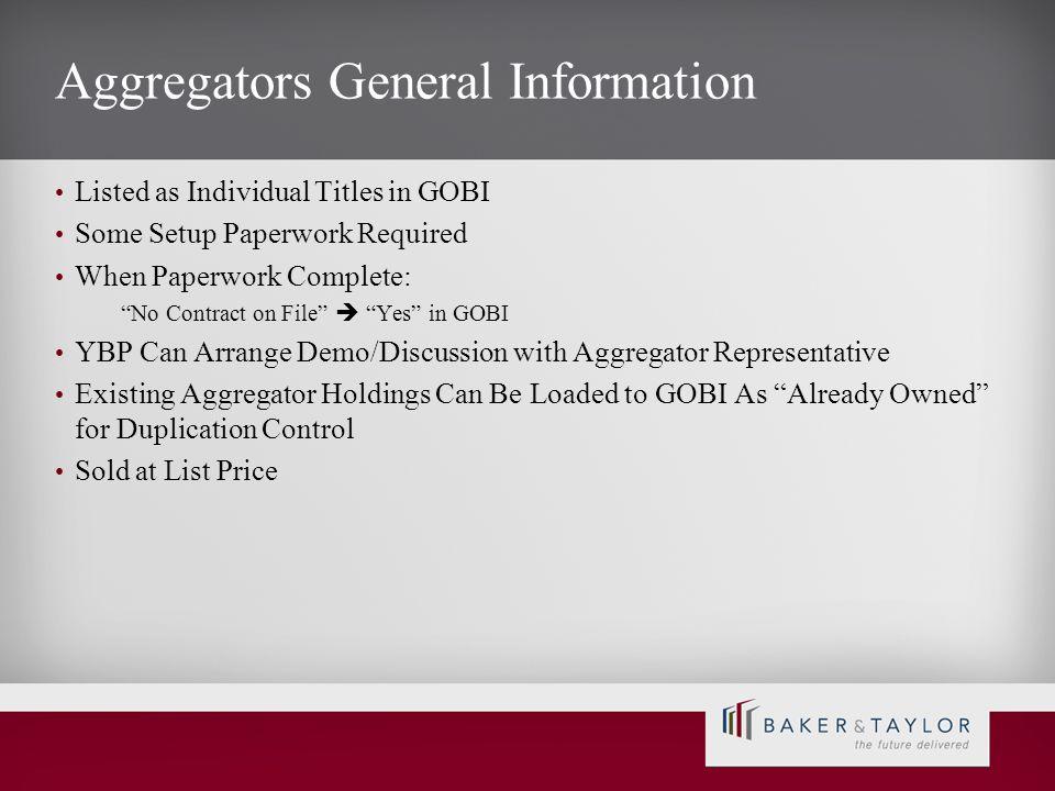 Aggregators General Information