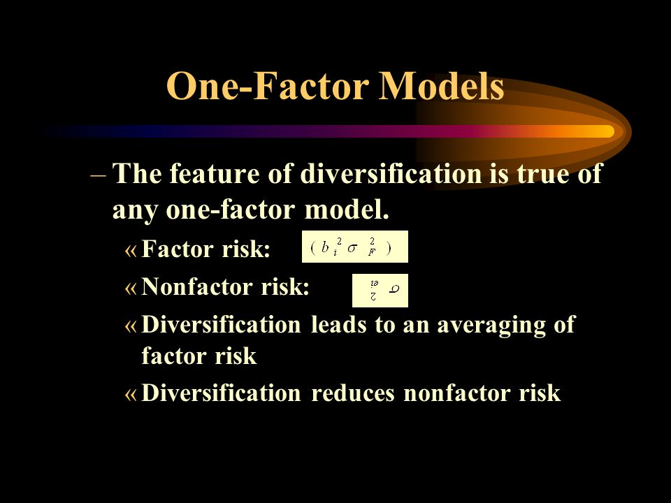 One-Factor Models The feature of diversification is true of any one-factor model. Factor risk: Nonfactor risk:
