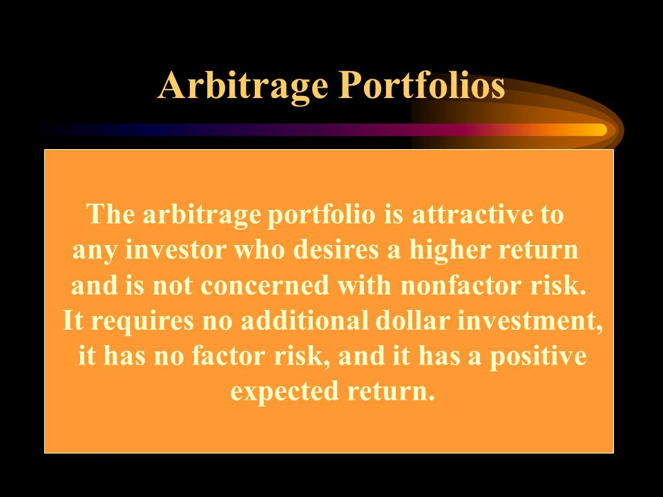 Arbitrage Portfolios The arbitrage portfolio is attractive to