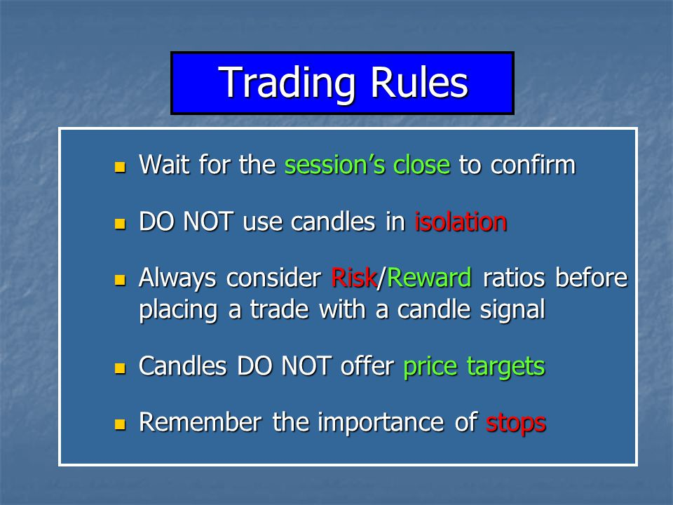 Trading Rules Wait for the session's close to confirm