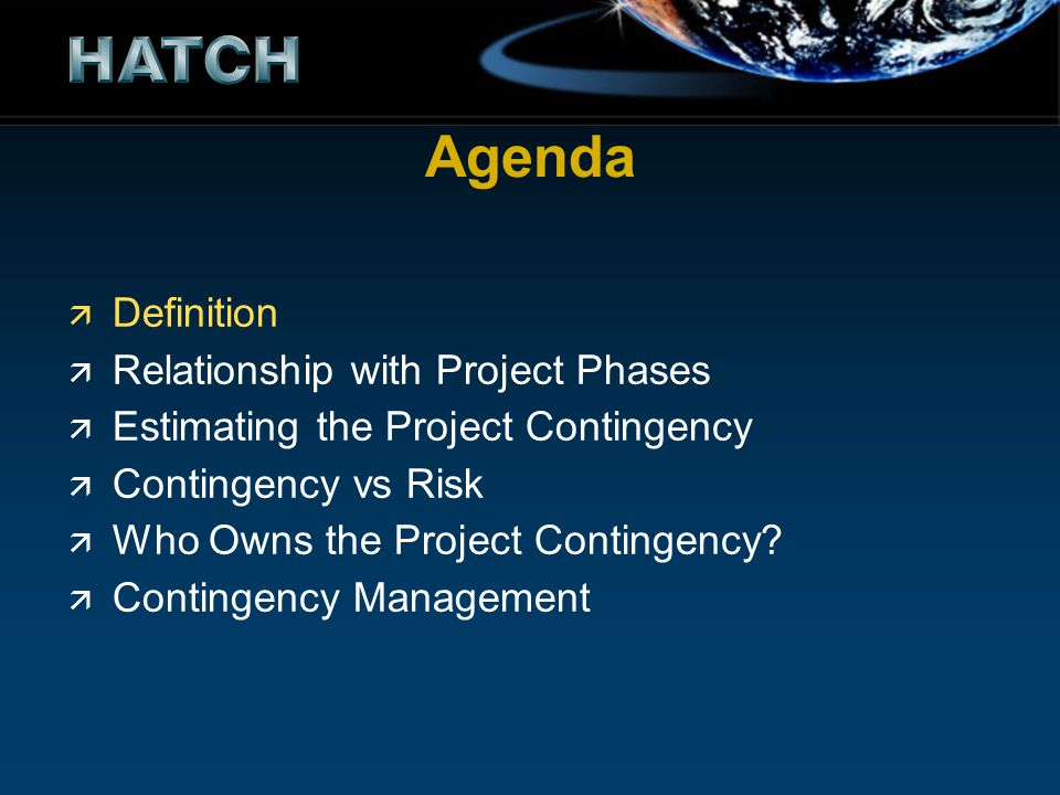 Agenda Definition Relationship with Project Phases