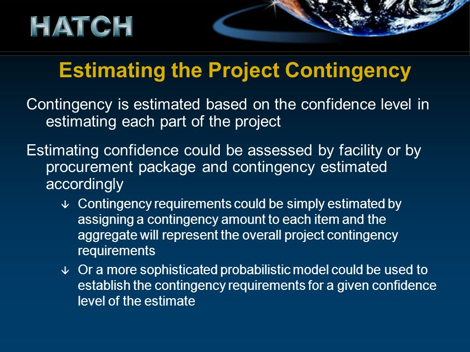 Estimating the Project Contingency