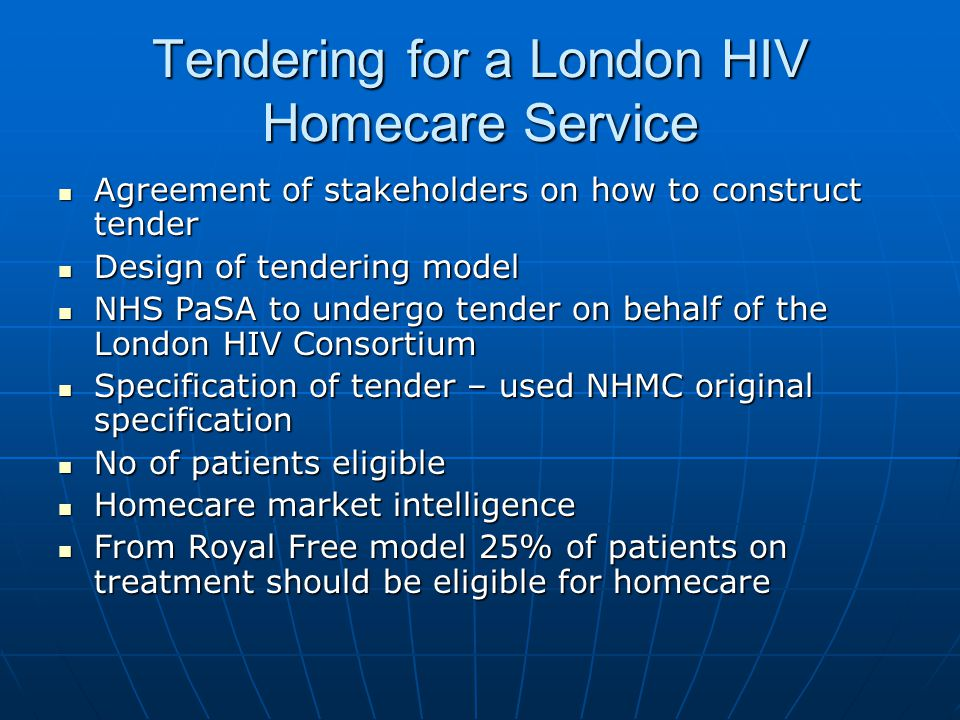 Tendering for a London HIV Homecare Service