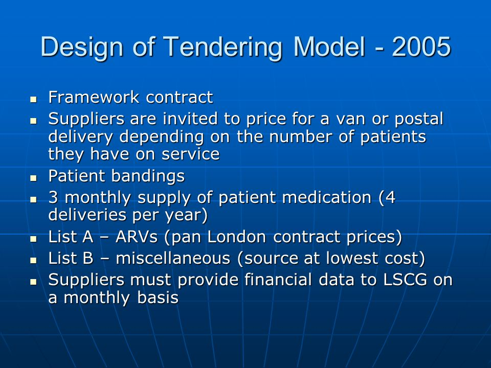 Design of Tendering Model - 2005