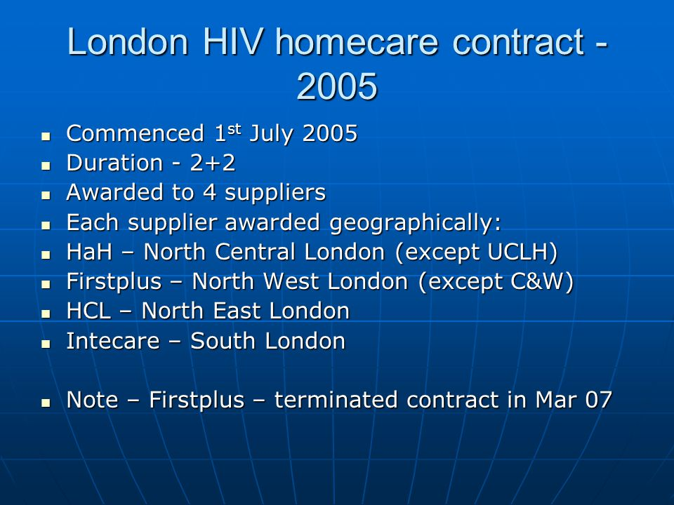 London HIV homecare contract - 2005
