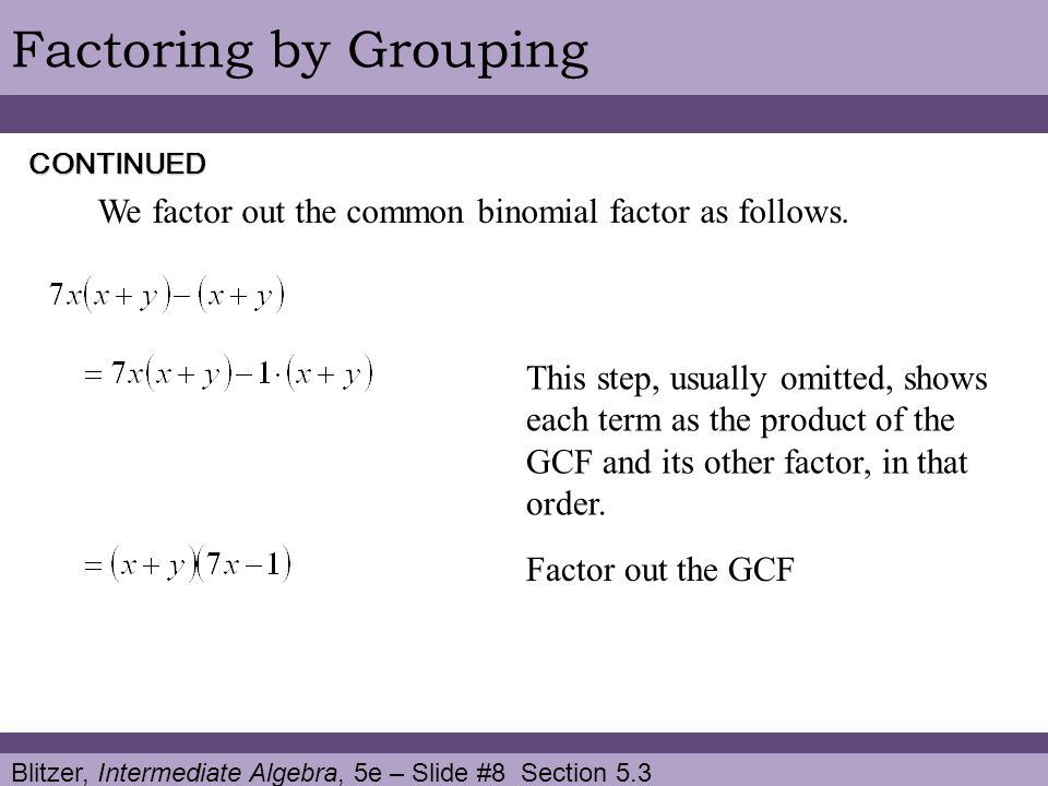 Factoring by Grouping CONTINUED. We factor out the common binomial factor as follows.