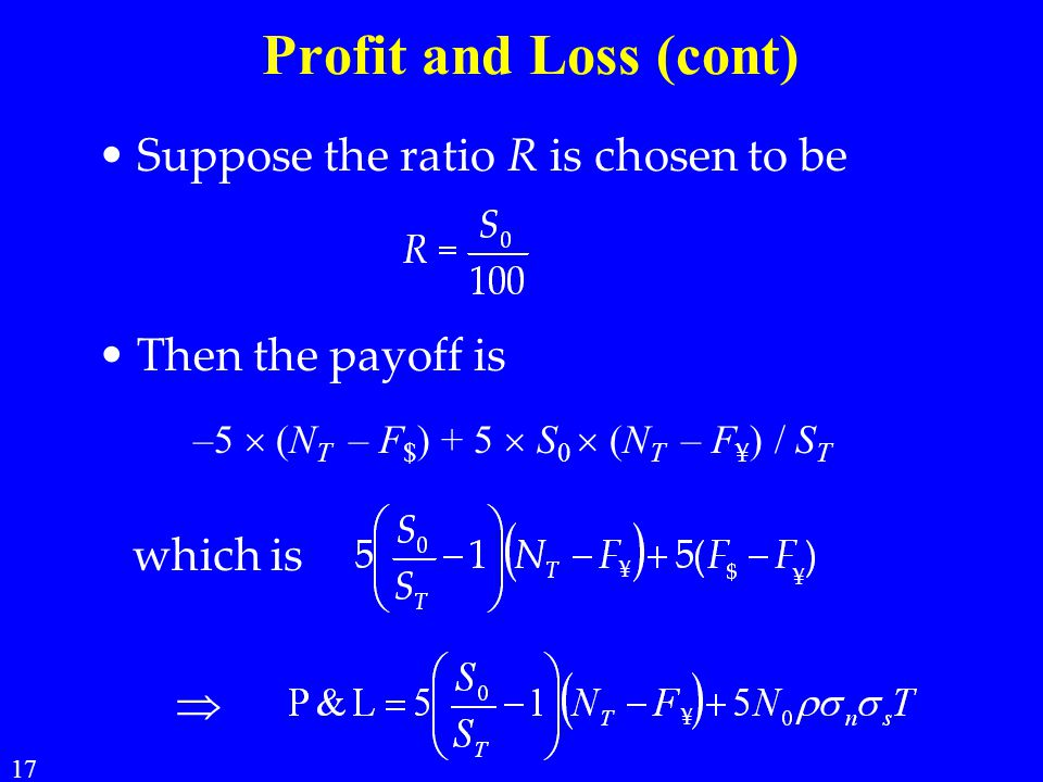 Profit and Loss (cont) Suppose the ratio R is chosen to be