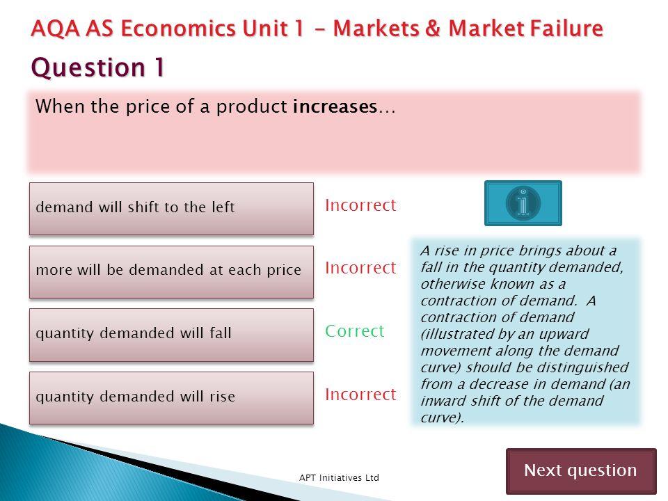 Question 1 AQA AS Economics Unit 1 – Markets & Market Failure