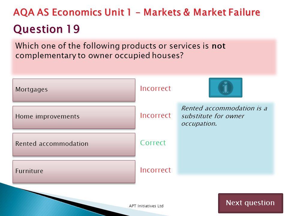 Question 19 AQA AS Economics Unit 1 – Markets & Market Failure