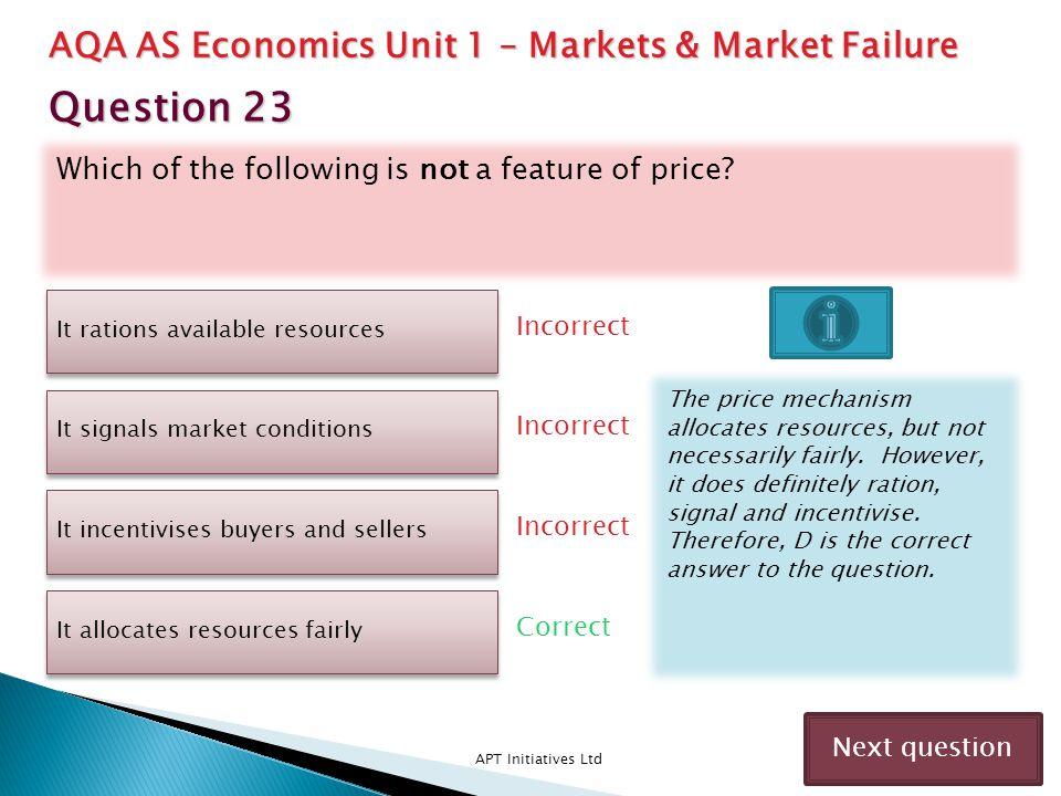 Question 23 AQA AS Economics Unit 1 – Markets & Market Failure