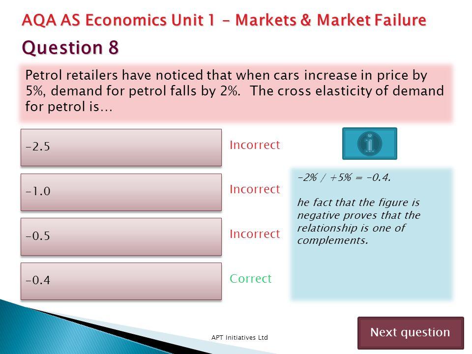 Question 8 AQA AS Economics Unit 1 – Markets & Market Failure