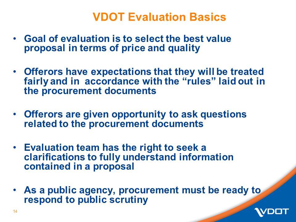 VDOT Evaluation Basics