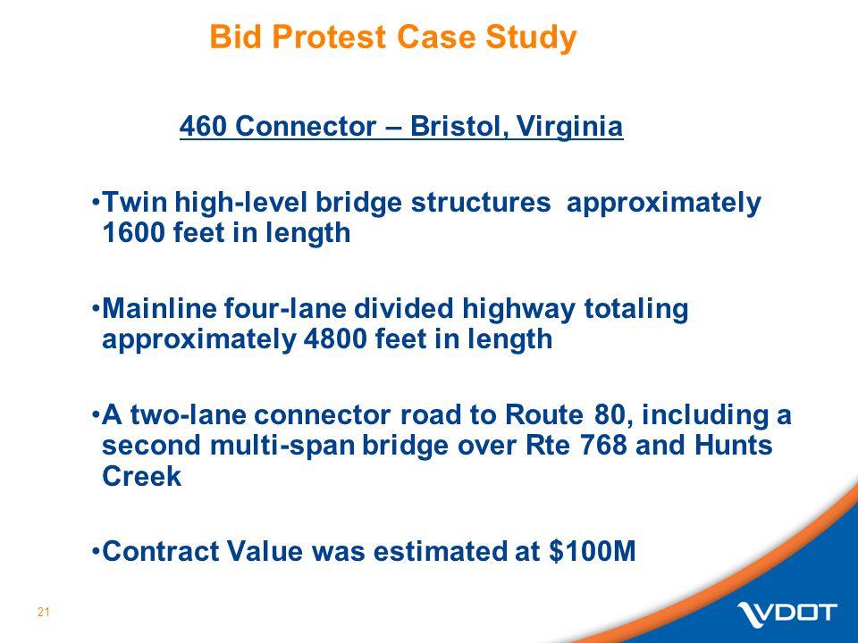 Bid Protest Case Study 460 Connector – Bristol, Virginia