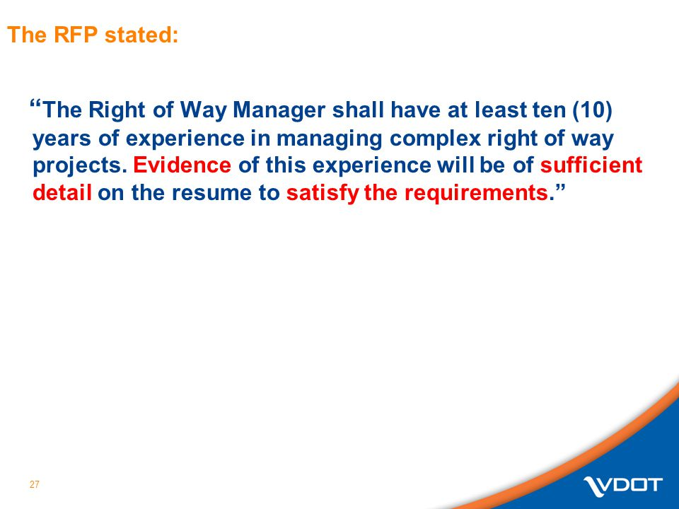 The RFP stated: