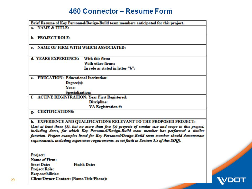 460 Connector – Resume Form