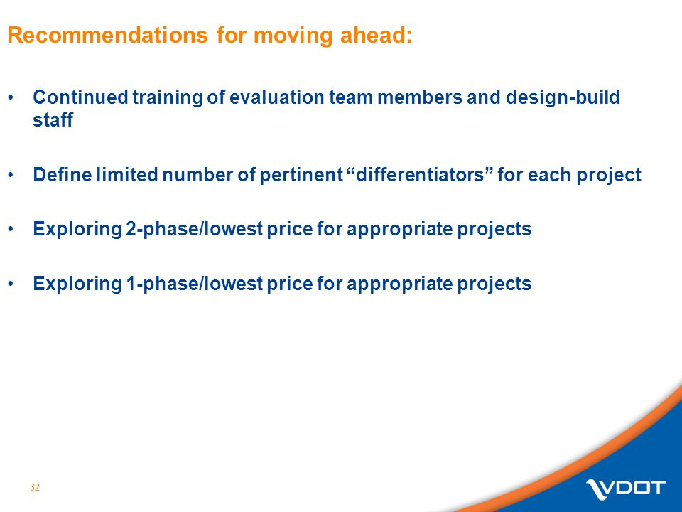 Recommendations for moving ahead: