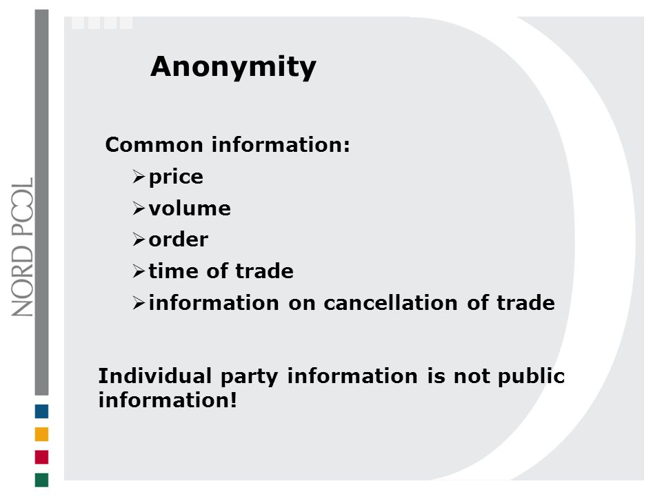 Anonymity Common information: price volume order time of trade