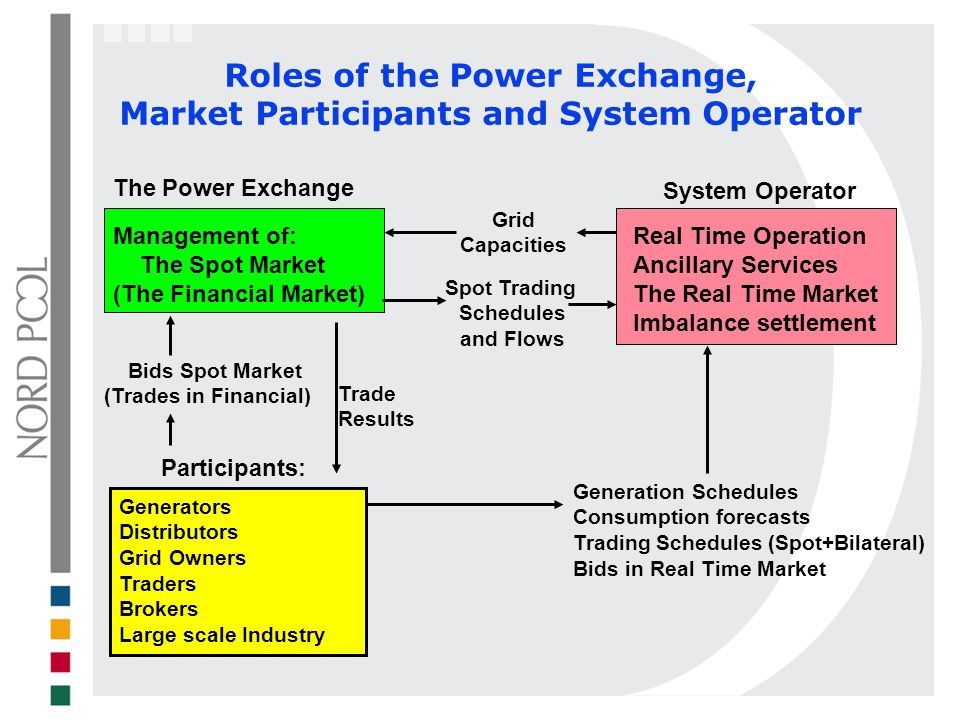 Roles of the Power Exchange, Market Participants and System Operator