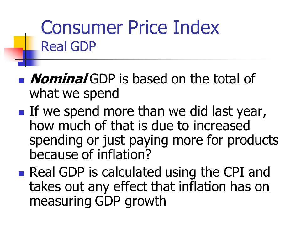 Consumer Price Index Real GDP