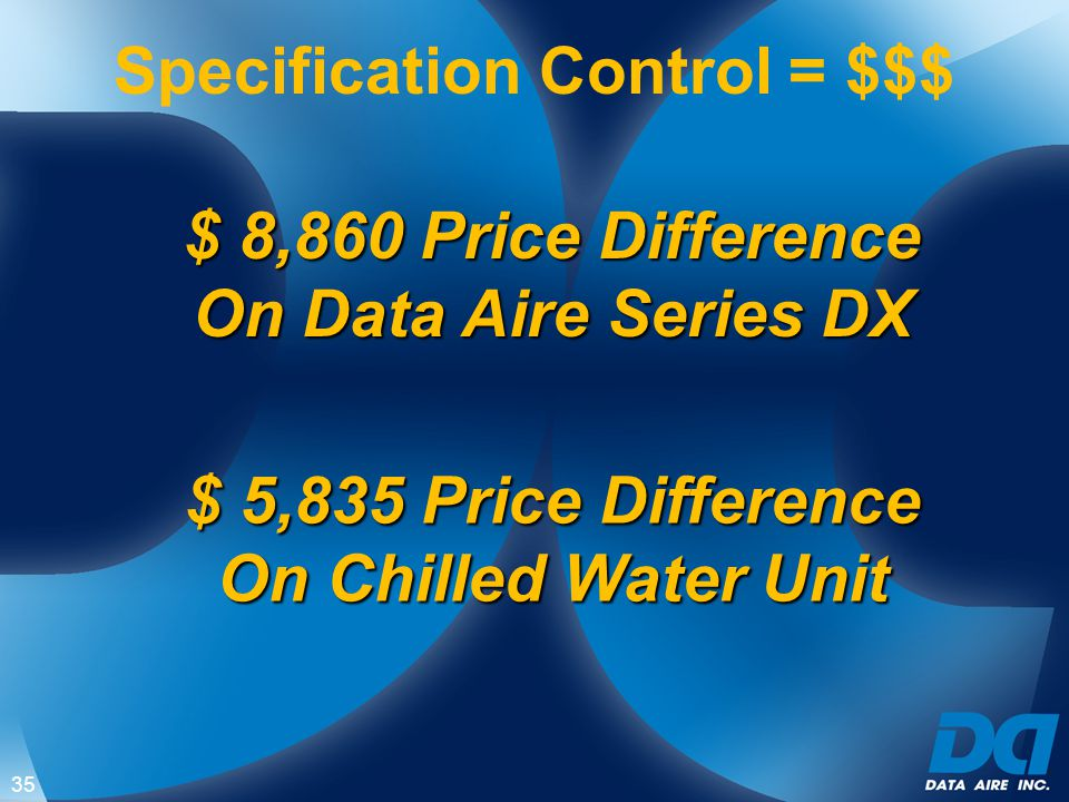 $ 8,860 Price Difference On Data Aire Series DX