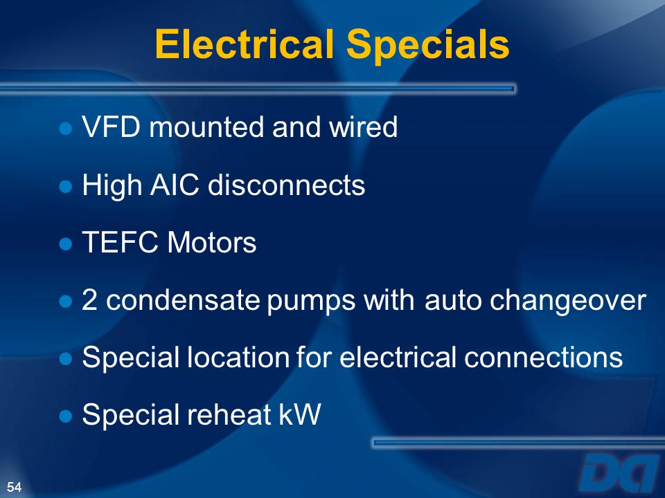 Electrical Specials VFD mounted and wired High AIC disconnects