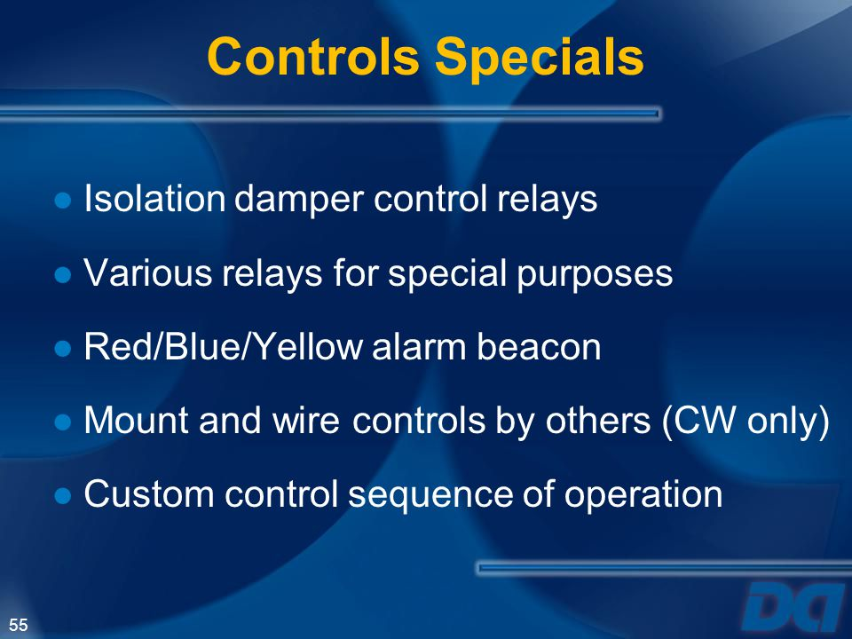 Controls Specials Isolation damper control relays