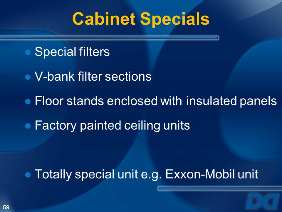 Cabinet Specials Special filters V-bank filter sections