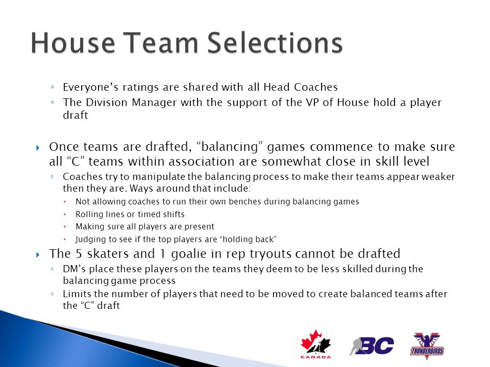 House Team Selections Everyone's ratings are shared with all Head Coaches.