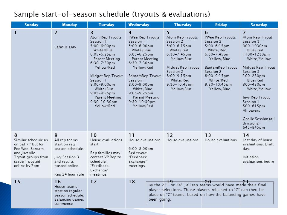 Sample start-of-season schedule (tryouts & evaluations)