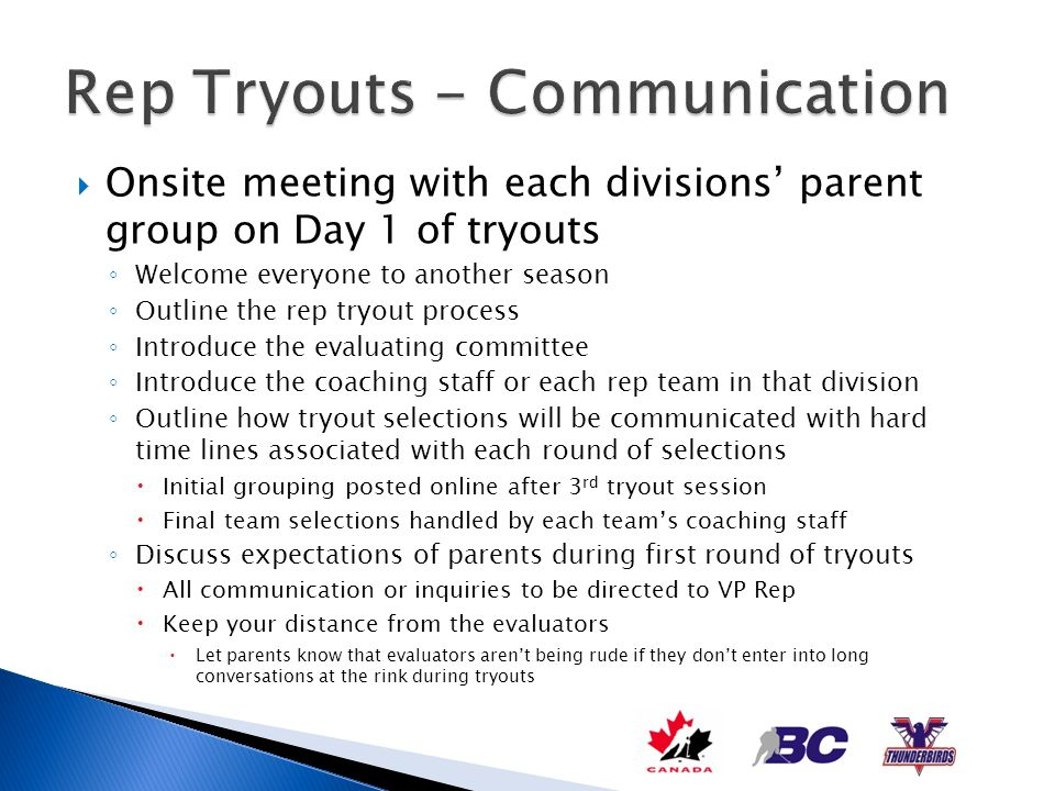Rep Tryouts - Communication