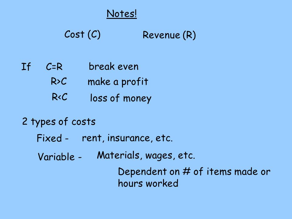 Notes! Cost (C) Revenue (R) If C=R. break even. R>C. make a profit. R<C. loss of money. 2 types of costs.