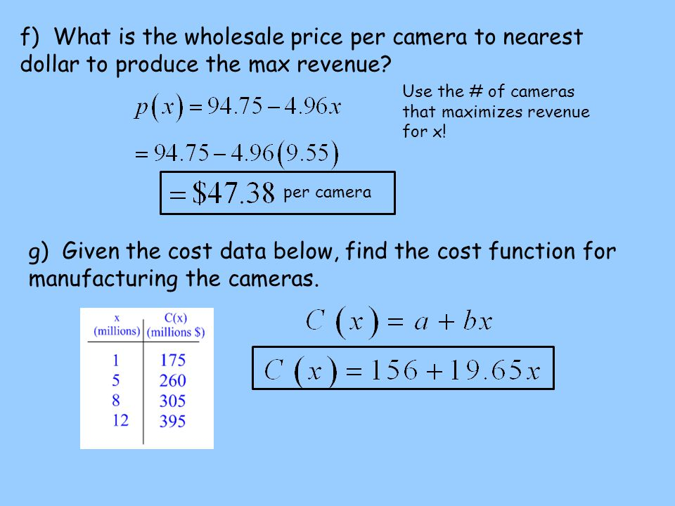 f) What is the wholesale price per camera to nearest dollar to produce the max revenue