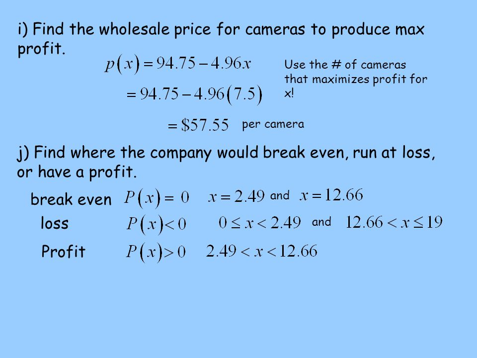 i) Find the wholesale price for cameras to produce max profit.