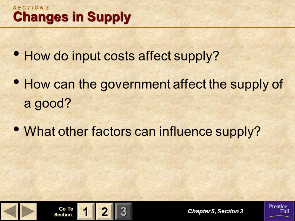 S E C T I O N 3 Changes in Supply