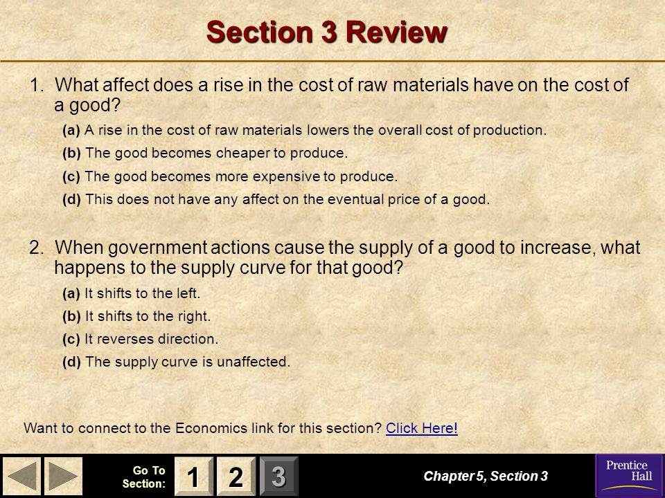 Section 3 Review 1. What affect does a rise in the cost of raw materials have on the cost of a good