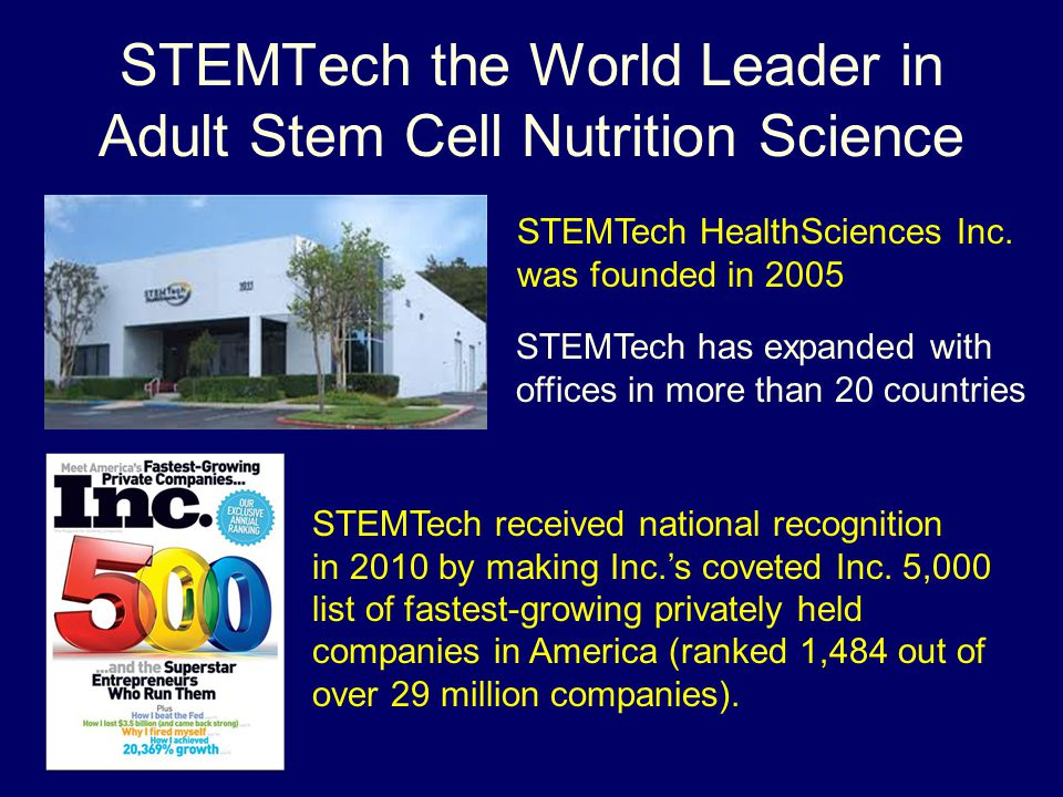 STEMTech the World Leader in Adult Stem Cell Nutrition Science