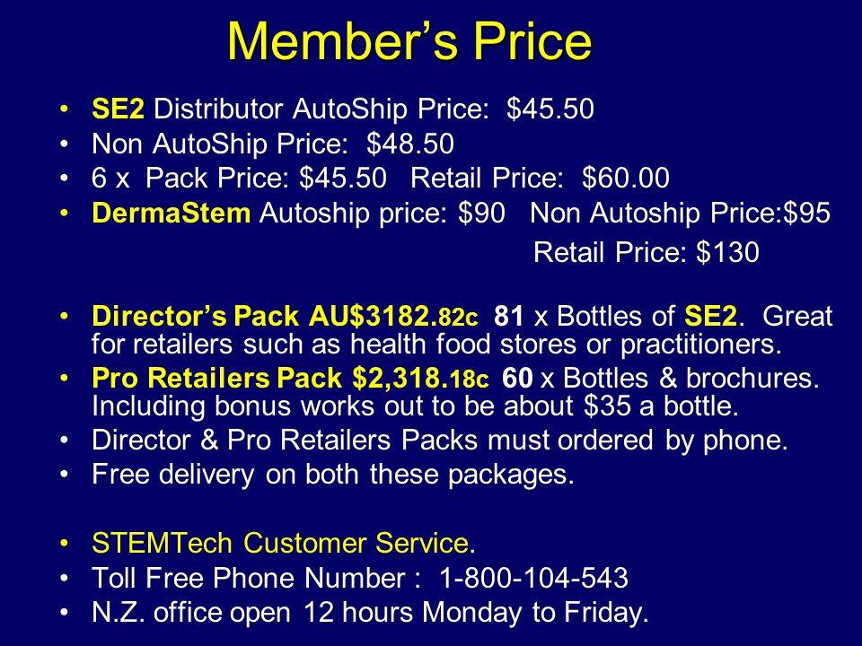 Member's Price SE2 Distributor AutoShip Price: $45.50