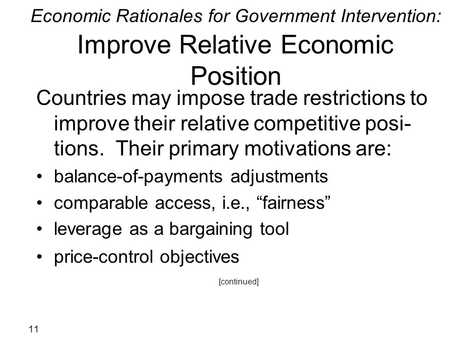 Economic Rationales for Government Intervention: Improve Relative Economic Position