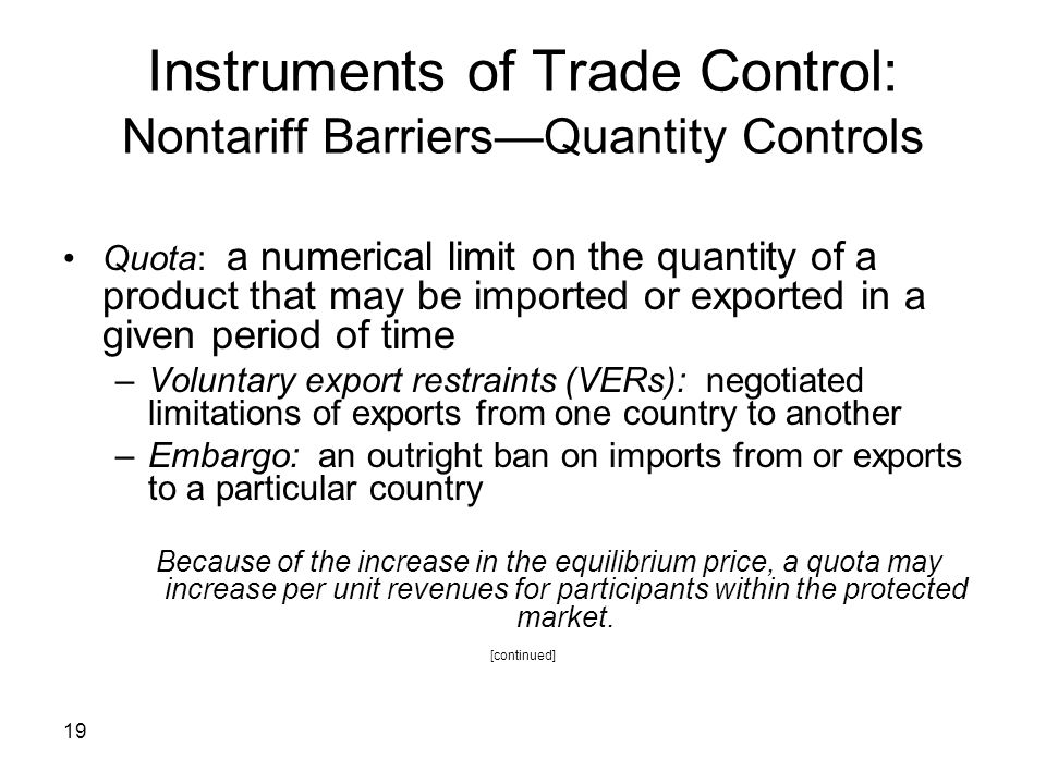 Instruments of Trade Control: Nontariff Barriers—Quantity Controls