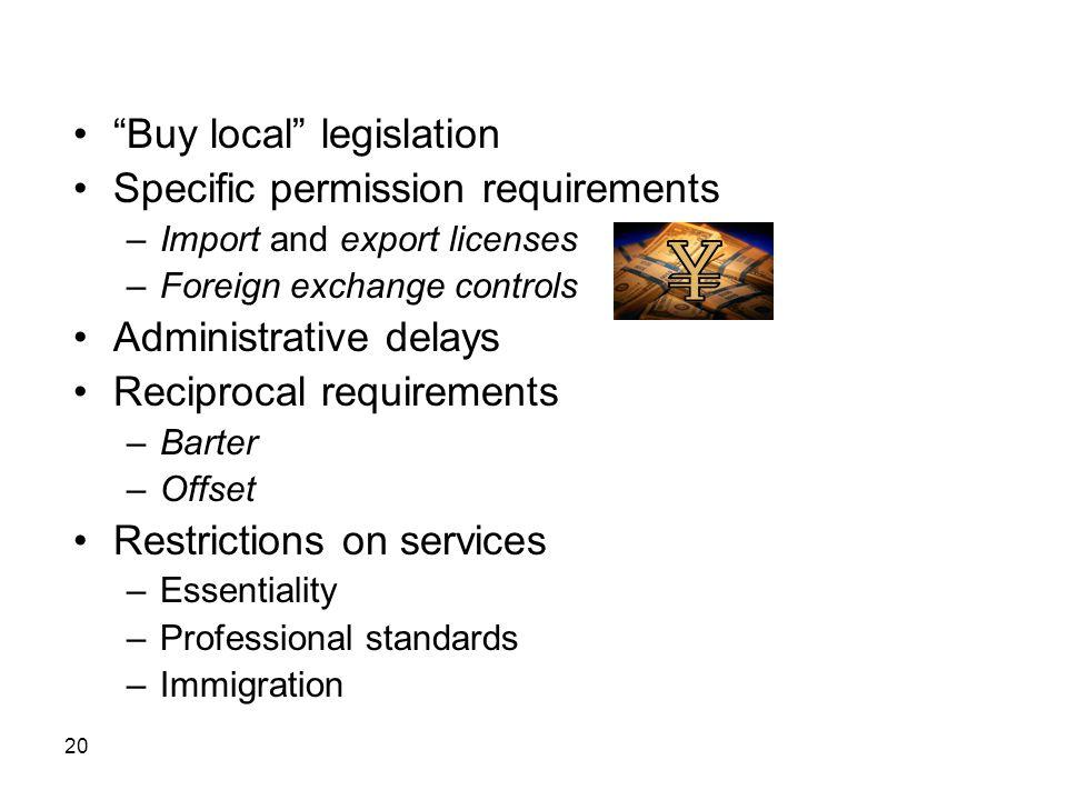 Buy local legislation Specific permission requirements