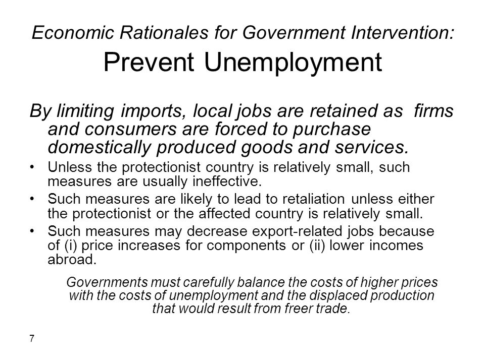 Economic Rationales for Government Intervention: Prevent Unemployment