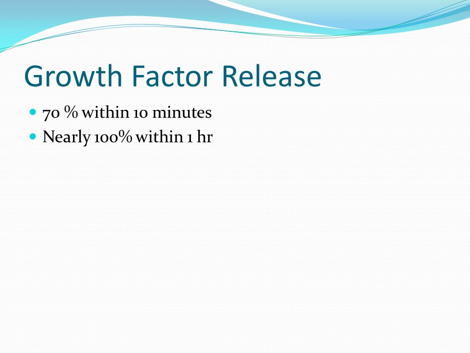 Growth Factor Release 70 % within 10 minutes Nearly 100% within 1 hr